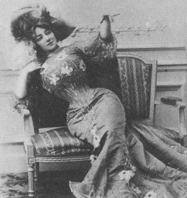 Victorian with such a tiny corseted waist that she cant sit up on her own.